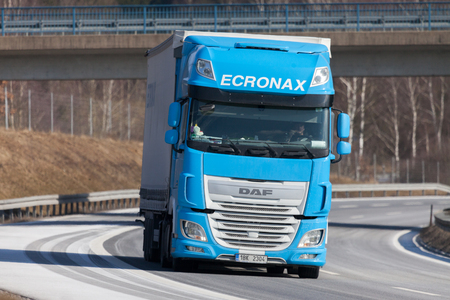 FUERTH  GERMANY - FEBRUARY 22, 2018: truck from a czech forwarder drives on german motorway