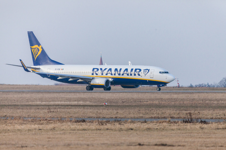 NUERNBERG  GERMANY - MARCH 4, 2018: Boing 737 - 800 from Ryanair drives to runway at airport Nuernberg