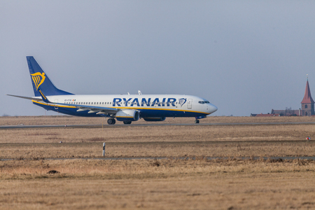 NUERNBERG / GERMANY - MARCH 4, 2018: Boing 737 - 800 from Ryanair drives to runway at airport Nuernberg