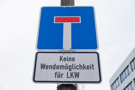 German No through road traffic sign. Keine Wendemoeglichkeit fuer LKW means, no possibility to turn around trucks