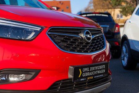 NUERNBERG  GERMANY - MARCH 4, 2018: Opel logo on a car at an Opel car dealer in Germany. Opel Automobile GmbH is a German automobile manufacturer. Editorial