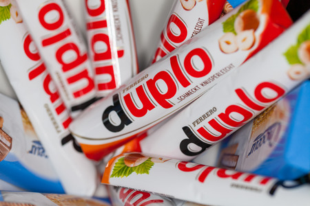 FUERTH  GERMANY - MARCH 3, 2018: Duplo bars lies in a bowl. Duplo produced by Ferrero which was founded  in 1946.