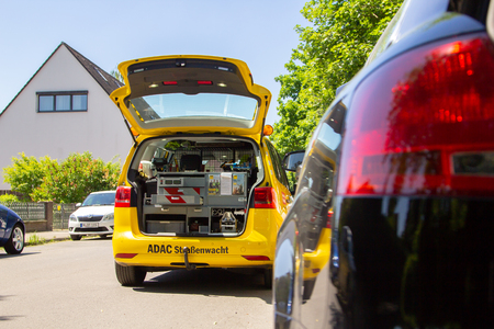 HANNOVER  GERMANY - MAY 21, 2018: Service car from ADAC, german automobile club stands on a street.