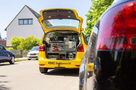 HANNOVER / GERMANY - MAY 21, 2018: Service car from ADAC, german automobile club stands on a street.