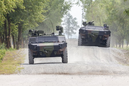German light armoured  reconnaissance vehicle drives on a road 스톡 콘텐츠