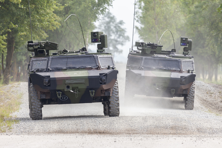 German light armoured  reconnaissance vehicle drives on a road Stock Photo