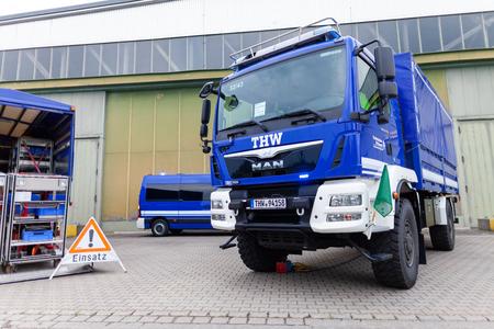 FELDKIRCHEN / Germany - JUNE 9, 2018: German technical emergency service truck stands on a platform at open day. Technisches Hilfswerk, THW means technical emergency service. 報道画像