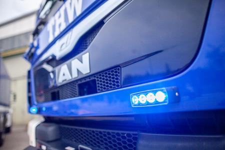 FELDKIRCHEN  Germany - JUNE 9, 2018: German technical emergency service truck stands on a platform at open day. Technisches Hilfswerk, THW means technical emergency service. Redactioneel