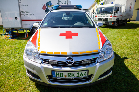 DELMENHORST / GERMANY - MAY 6, 2018: German emergency doctor car from Deutsches Rotes Kreuz stands on an open day.