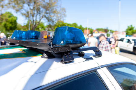 Emergency lights on an american police car Stock Photo