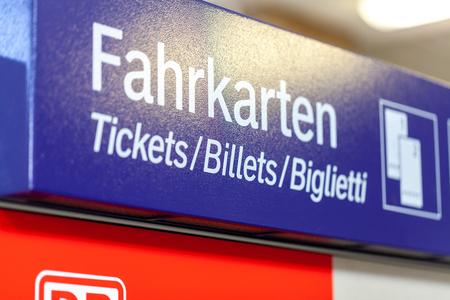 FUERTH / GERMANY - MARCH 11, 2018: Deutsche Bahn ticket machine stands on  train station in Fuerth, near Nuernberg. Deutsche Bahn AG (abbreviated as DB, DB AG or DBAG) is a German railway company. Editorial