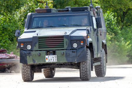 FELDKIRCHEN / GERMANY - JUNE 9, 2018: German armoured personnel carrier MOWAG Eagle, from Bundeswehr, drives on a road at Day of the Bundeswehr.