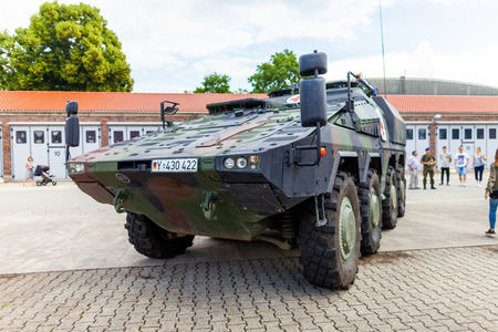 FELDKIRCHEN  GERMANY - JUNE 9, 2018: German armoured medical carrier Boxer, from Bundeswehr, stands on platform at Day of the Bundeswehr in Feldkirchen  Germany. 報道画像