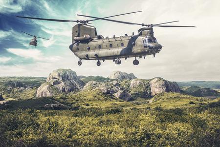 Bimoteur américain, rotor tandem, hélicoptère de transport lourd survole un paysage verdoyant