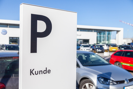 FUERTH / GERMANY - FEBRUARY 25, 2018: Parking area sign near a Volkswagen car dealer. Kunde means customer. Volkswagen is a German automaker founded on 28 May 1937 and headquartered in Wolfsburg.