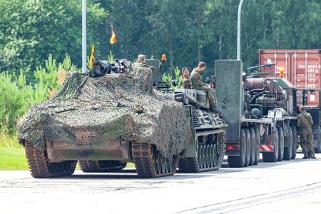 BURG / GERMANY - JUNE 25, 2016: german military army convoy, stands on street at open day in barrack Burg / Saxony Anhalt Editorial
