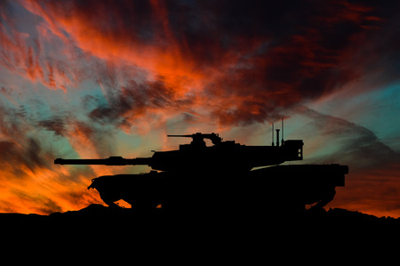 American main battle tank silhouette / 3d illustration Reklamní fotografie