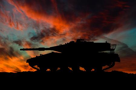 Israeli main battle tank silhouette / 3d illustration 写真素材 - 116087600