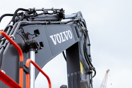 MUNICH  GERMANY - APRIL 14, 2019: Volvo excavator works on a construction site in Munich.