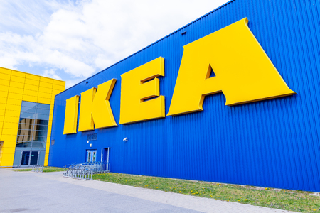 NUREMBERG  GERMANY - APRIL 7, 2019: IKEA branch on a warehouse in Nuremberg. IKEA is a Swedish-founded multinational group that designs and sells ready-to-assemble furniture, kitchen and accessories.