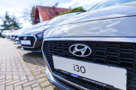 NUREMBERG  GERMANY - APRIL 7, 2019: Hyundai logo on a Hyundai car at a car dealer. The Hyundai Motor Company is a South Korean multinational automotive manufacturer headquartered in Seoul. Редакционное
