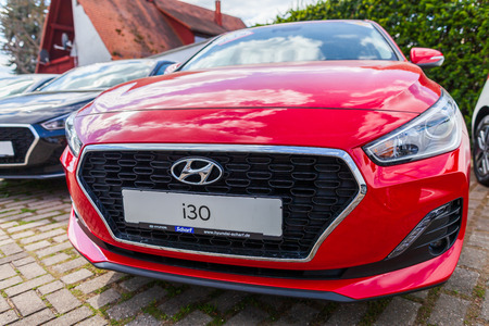 NUREMBERG / GERMANY - APRIL 7, 2019: Hyundai logo on a Hyundai car at a car dealer. The Hyundai Motor Company is a South Korean multinational automotive manufacturer headquartered in Seoul.