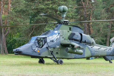 AUGUSTDORF / GERMANY - JUNE 15, 2019: Eurocopter Tiger twin-engined attack helicopter from the german army at public event, Day of the Bundeswehr in Augustdorf 2019. Editorial