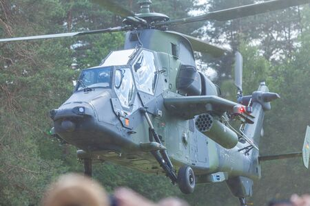 AUGUSTDORF / GERMANY - JUNE 15, 2019: Eurocopter Tiger twin-engined attack helicopter from the german army at public event, Day of the Bundeswehr in Augustdorf 2019. 報道画像
