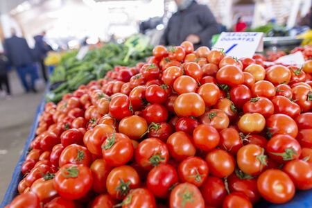 Delicious tomatoes lies on a turkish market