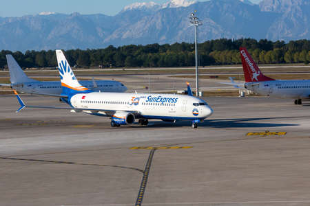 ANTALYA / TURKEY - JANUARY 24, 2020: Boing 737- 800 from SunExpress airline on airport in Antalya, Turkey.