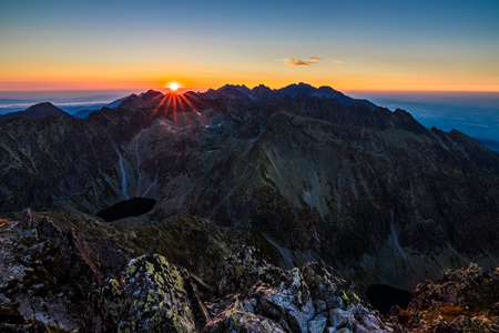 Sunset/sunrise series from the top of spectacular mountain called Krivan in High Tatras, Slovakia. Фото со стока