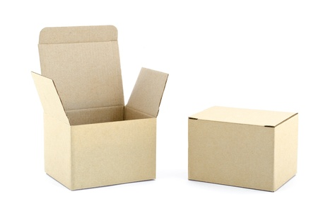 Carton boxes on white background  Stock Photo - 12878586