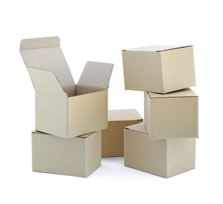 Carton boxes on white background  Stock Photo