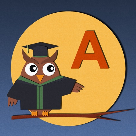 The alphabet  A  and graduates owl, paper cut design  photo