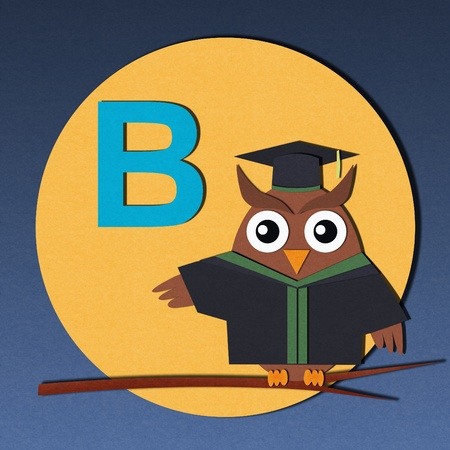 The alphabet  B  and graduates owl, paper cut design  photo