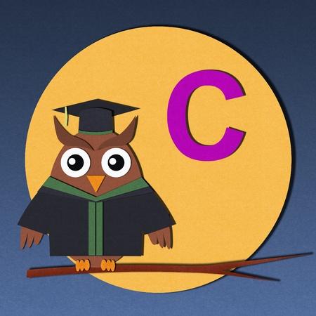 The alphabet  C  and graduates owl, paper cut design Stock Photo - 12878479