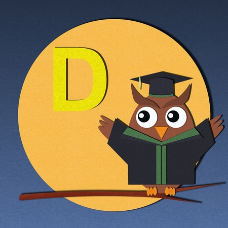 The alphabet  D  and graduates owl, paper cut design  photo