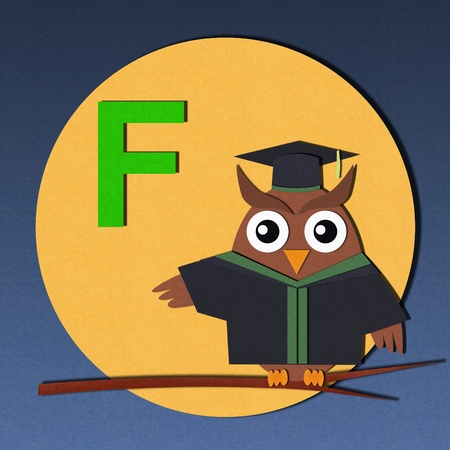 The alphabet  F  and graduates owl, paper cut design  photo