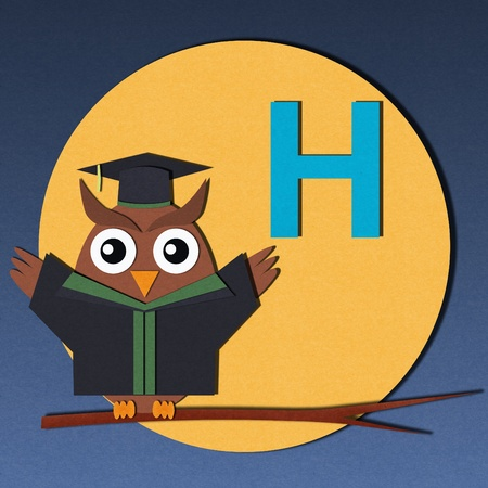 The alphabet  H  and graduates owl, paper cut design  photo