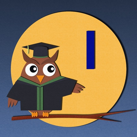 The alphabet  I  and graduates owl, paper cut design Stock Photo - 12878544