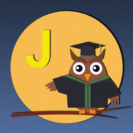 The alphabet  J  and graduates owl, paper cut design  photo