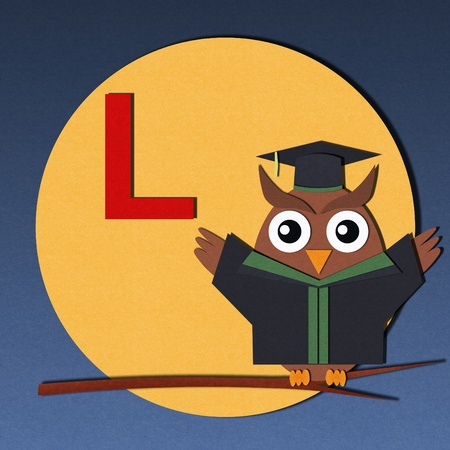 The alphabet  L  and graduates owl, paper cut design  photo