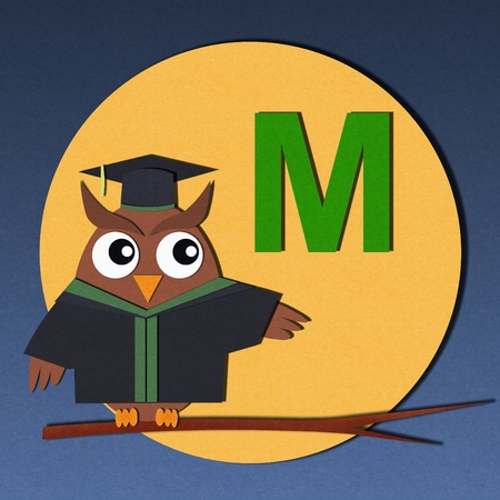 The alphabet  M  and graduates owl, paper cut design  photo