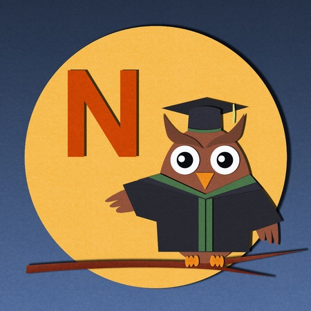 The alphabet  N  and graduates owl, paper cut design  photo