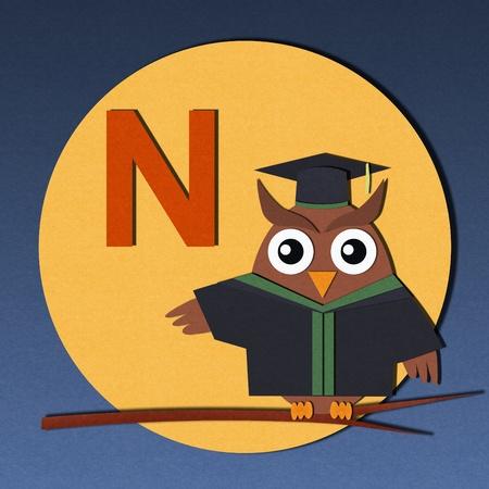 smart kid: The alphabet  N  and graduates owl, paper cut design  Stock Photo