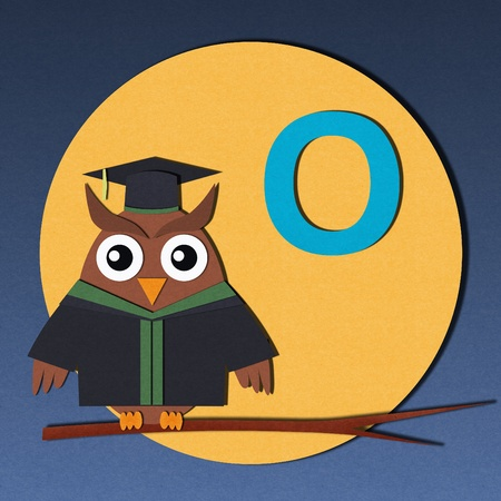The alphabet  O  and graduates owl, paper cut design  photo