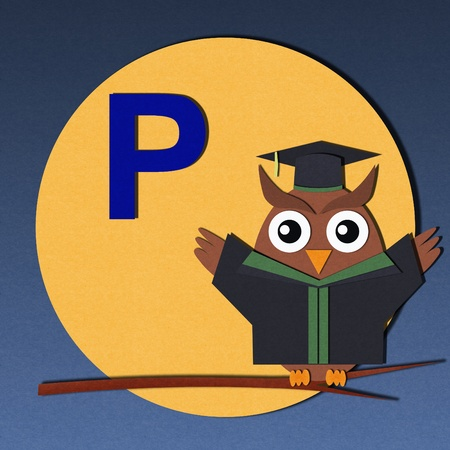 The alphabet  P  and graduates owl, paper cut design  photo