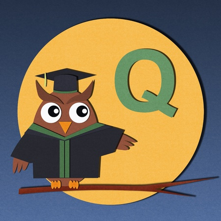 The alphabet  Q  and graduates owl, paper cut design  photo