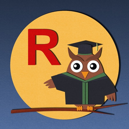 The alphabet  R  and graduates owl, paper cut design  photo