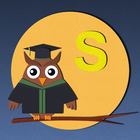 The alphabet  S  and graduates owl, paper cut design  photo